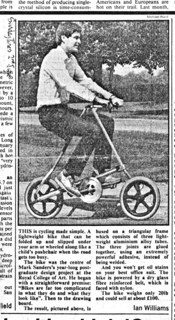 Статья о прототипе Strida RCA в газете  Sunday Times от 2 июня 1985 года